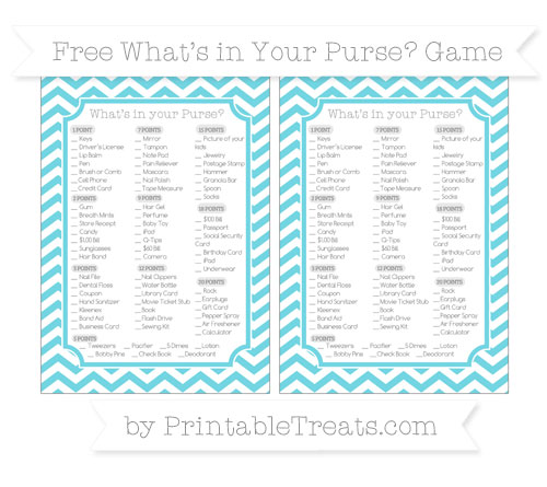 Free Pastel Teal Chevron What's in Your Purse Baby Shower Game