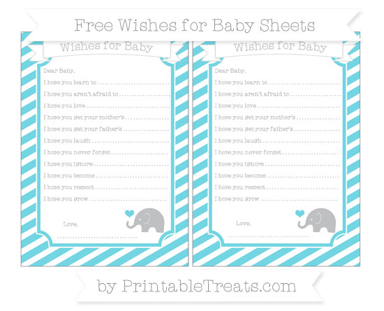 Free Pastel Teal Diagonal Striped Baby Elephant Wishes for Baby Sheets