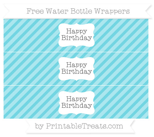 Free Pastel Teal Diagonal Striped Happy Birhtday Water Bottle Wrappers