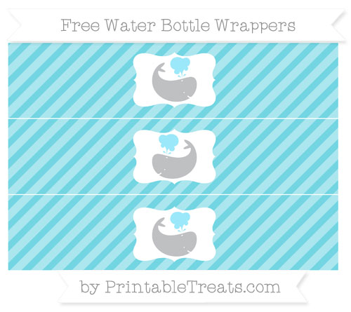 Free Pastel Teal Diagonal Striped Whale Water Bottle Wrappers