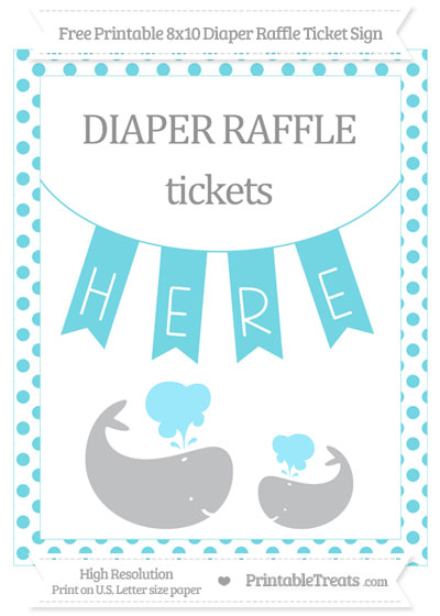 Free Pastel Teal Dotted Baby Whale 8x10 Diaper Raffle Ticket Sign