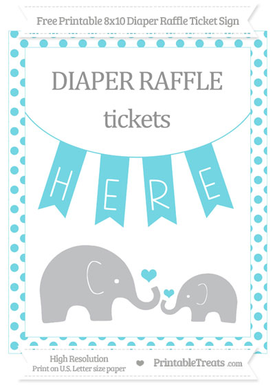Free Pastel Teal Dotted Elephant 8x10 Diaper Raffle Ticket Sign