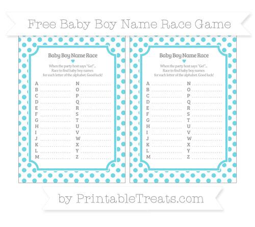 Free Pastel Teal Dotted Pattern Baby Boy Name Race Game
