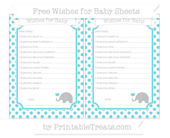 Free Pastel Teal Dotted Pattern Baby Elephant Wishes for Baby Sheets