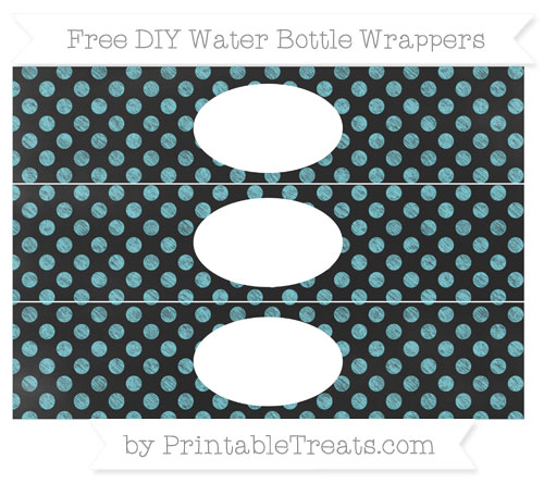 Free Pastel Teal Dotted Pattern Chalk Style DIY Water Bottle Wrappers