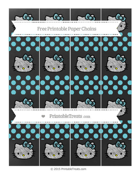 Free Pastel Teal Dotted Pattern Chalk Style Hello Kitty Paper Chains