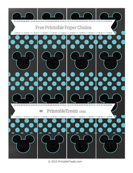 Free Pastel Teal Dotted Pattern Chalk Style Mickey Mouse Paper Chains