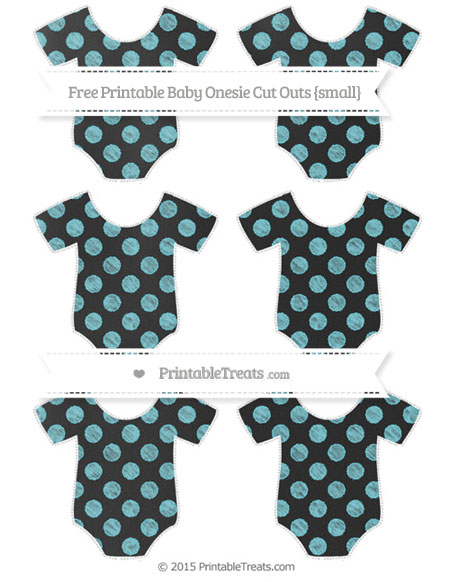 Free Pastel Teal Dotted Pattern Chalk Style Small Baby Onesie Cut Outs