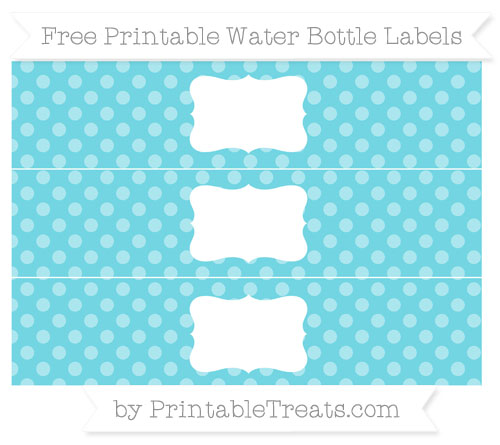 Free Pastel Teal Dotted Pattern Water Bottle Labels