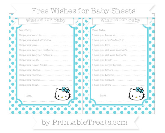 Free Pastel Teal Dotted Pattern Hello Kitty Wishes for Baby Sheets