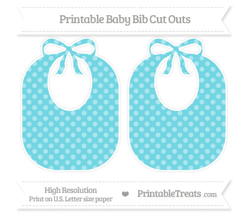 Free Pastel Teal Dotted Pattern Large Baby Bib Cut Outs