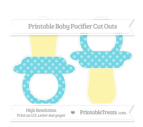 Free Pastel Teal Dotted Pattern Large Baby Pacifier Cut Outs