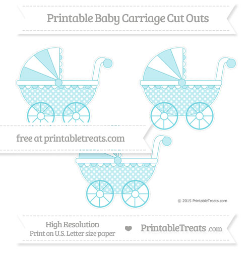 Free Pastel Teal Dotted Pattern Medium Baby Carriage Cut Outs