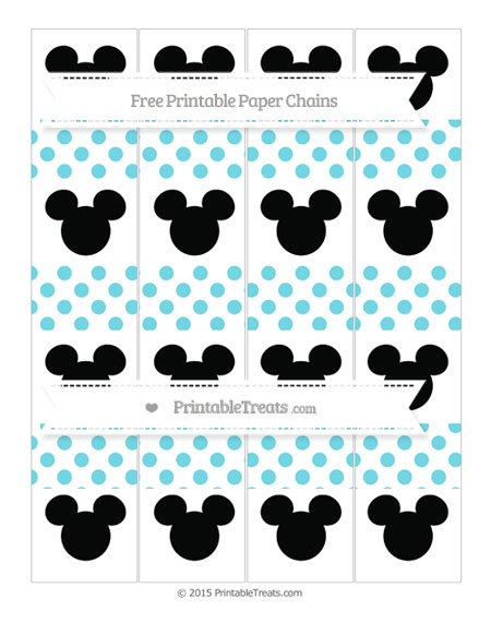 Free Pastel Teal Dotted Pattern Mickey Mouse Paper Chains