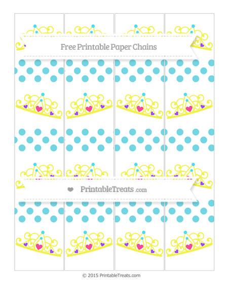 Free Pastel Teal Dotted Pattern Princess Tiara Paper Chains