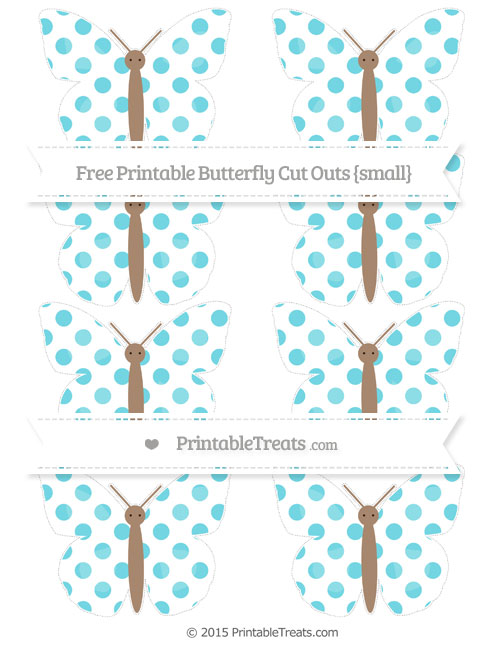 Free Pastel Teal Dotted Pattern Small Butterfly Cut Outs