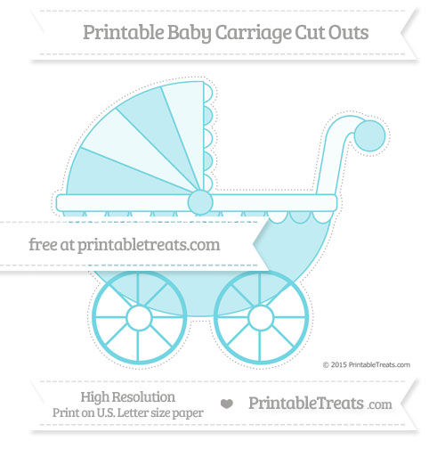 Free Pastel Teal Extra Large Baby Carriage Cut Outs