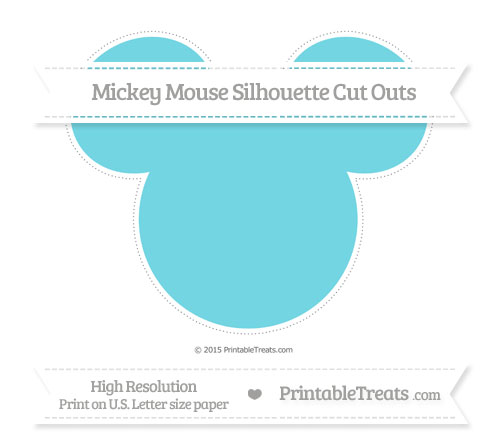 Free Pastel Teal Extra Large Mickey Mouse Silhouette Cut Outs