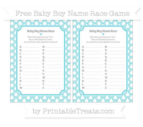 Free Pastel Teal Fish Scale Pattern Baby Boy Name Race Game