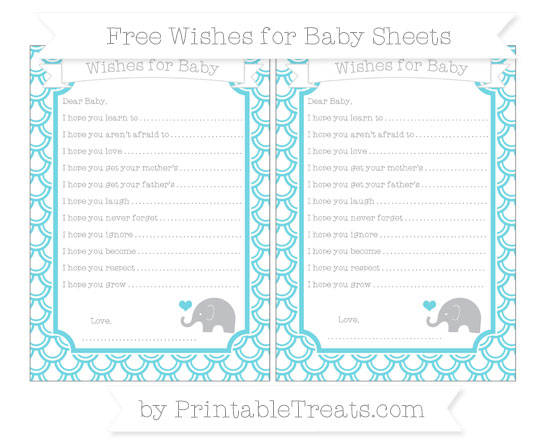 Free Pastel Teal Fish Scale Pattern Baby Elephant Wishes for Baby Sheets