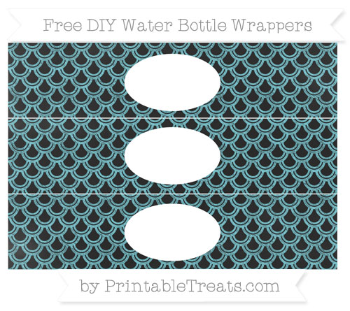 Free Pastel Teal Fish Scale Pattern Chalk Style DIY Water Bottle Wrappers