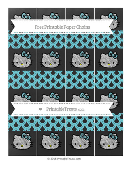 Free Pastel Teal Fish Scale Pattern Chalk Style Hello Kitty Paper Chains