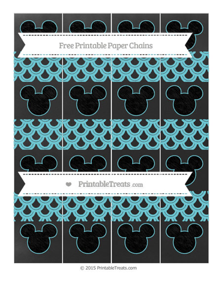 Free Pastel Teal Fish Scale Pattern Chalk Style Mickey Mouse Paper Chains