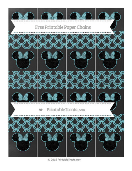 Free Pastel Teal Fish Scale Pattern Chalk Style Minnie Mouse Paper Chains