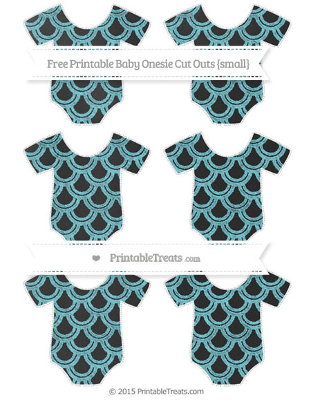 Free Pastel Teal Fish Scale Pattern Chalk Style Small Baby Onesie Cut Outs