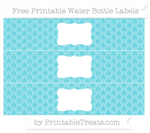Free Pastel Teal Fish Scale Pattern Water Bottle Labels