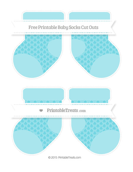 Free Pastel Teal Fish Scale Pattern Medium Baby Socks Cut Outs