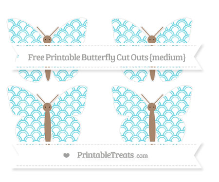 Free Pastel Teal Fish Scale Pattern Medium Butterfly Cut Outs