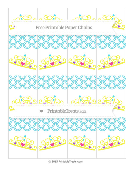 Free Pastel Teal Fish Scale Pattern Princess Tiara Paper Chains