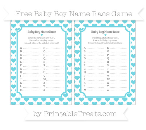 Free Pastel Teal Heart Pattern Baby Boy Name Race Game