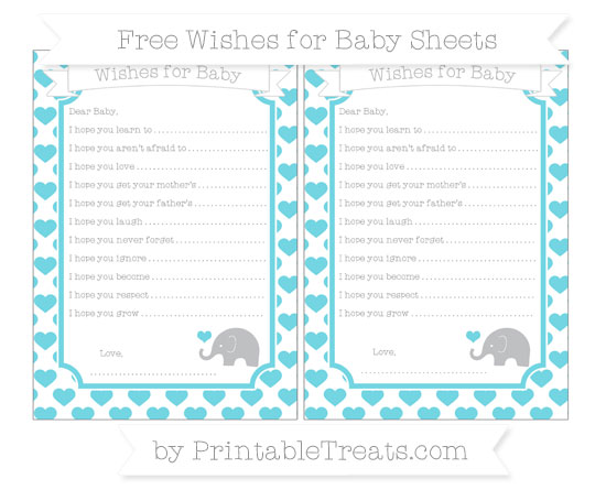 Free Pastel Teal Heart Pattern Baby Elephant Wishes for Baby Sheets