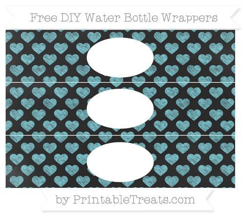 Free Pastel Teal Heart Pattern Chalk Style DIY Water Bottle Wrappers