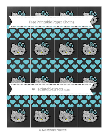 Free Pastel Teal Heart Pattern Chalk Style Hello Kitty Paper Chains