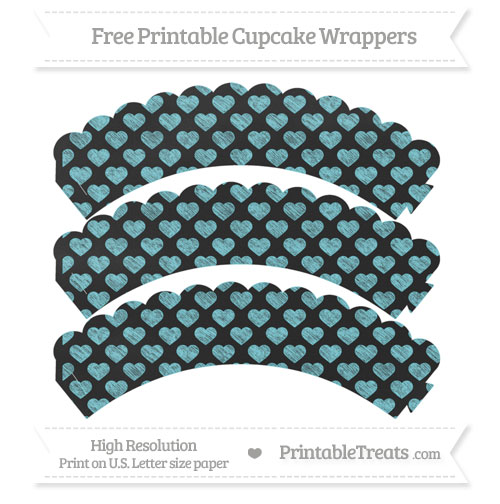 Free Pastel Teal Heart Pattern Chalk Style Scalloped Cupcake Wrappers