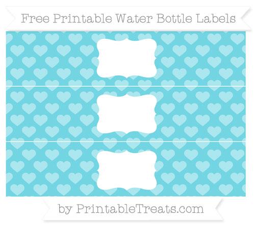 Free Pastel Teal Heart Pattern Water Bottle Labels