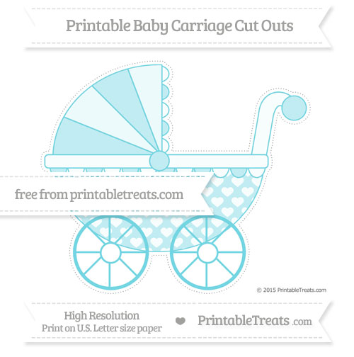 Free Pastel Teal Heart Pattern Extra Large Baby Carriage Cut Outs