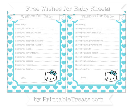 Free Pastel Teal Heart Pattern Hello Kitty Wishes for Baby Sheets