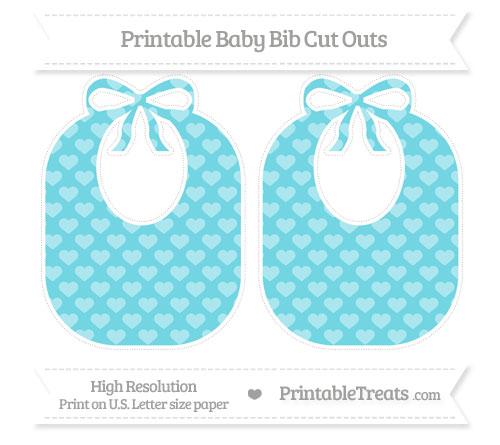 Free Pastel Teal Heart Pattern Large Baby Bib Cut Outs