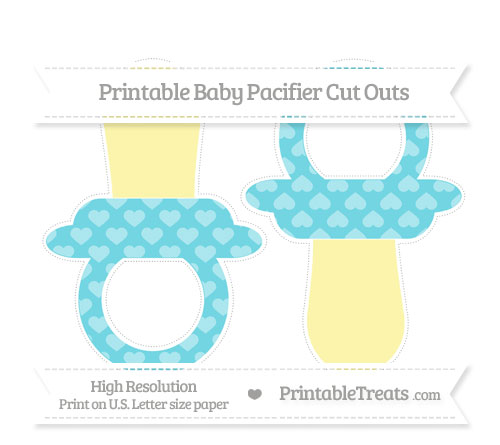 Free Pastel Teal Heart Pattern Large Baby Pacifier Cut Outs