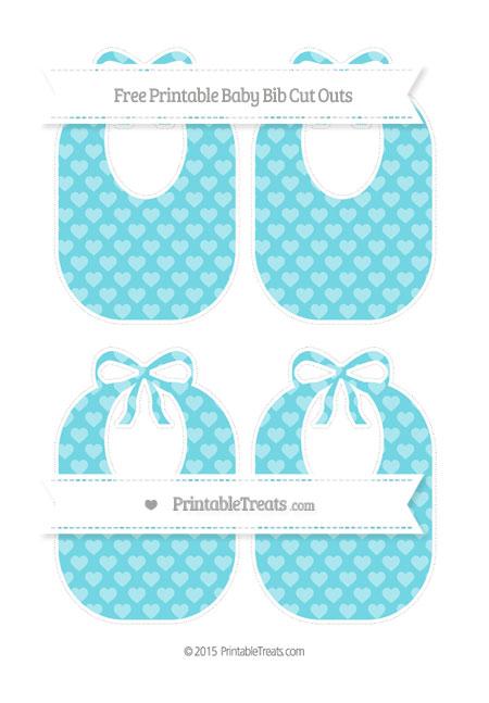Free Pastel Teal Heart Pattern Medium Baby Bib Cut Outs