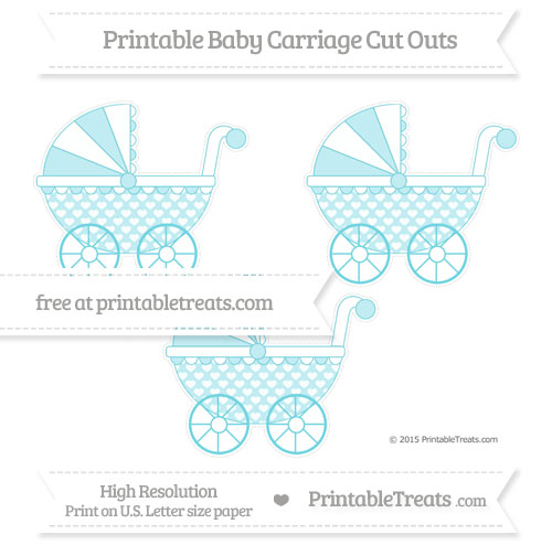 Free Pastel Teal Heart Pattern Medium Baby Carriage Cut Outs