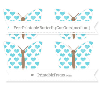 Free Pastel Teal Heart Pattern Medium Butterfly Cut Outs