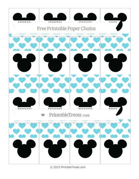 Free Pastel Teal Heart Pattern Mickey Mouse Paper Chains