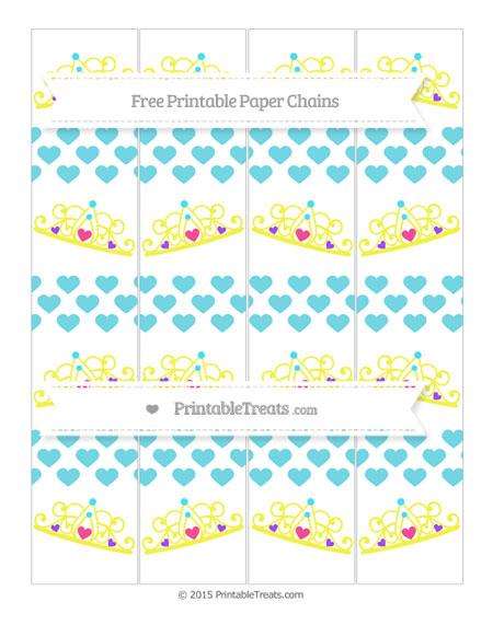 Free Pastel Teal Heart Pattern Princess Tiara Paper Chains