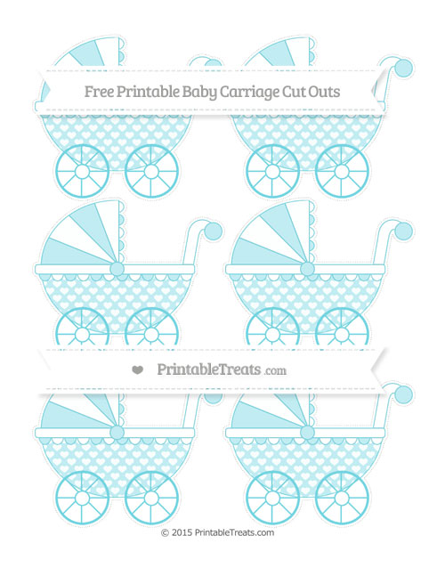 Free Pastel Teal Heart Pattern Small Baby Carriage Cut Outs