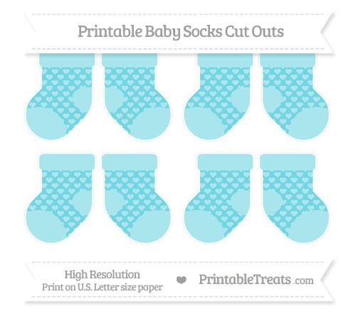 Free Pastel Teal Heart Pattern Small Baby Socks Cut Outs